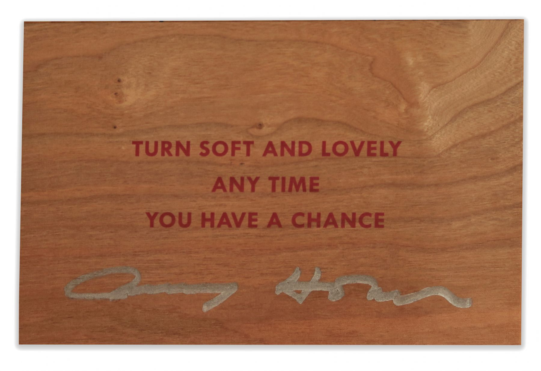 Jenny Holzer, Turn Soft and Lovely Any Time You Have A Chance, wood postcard