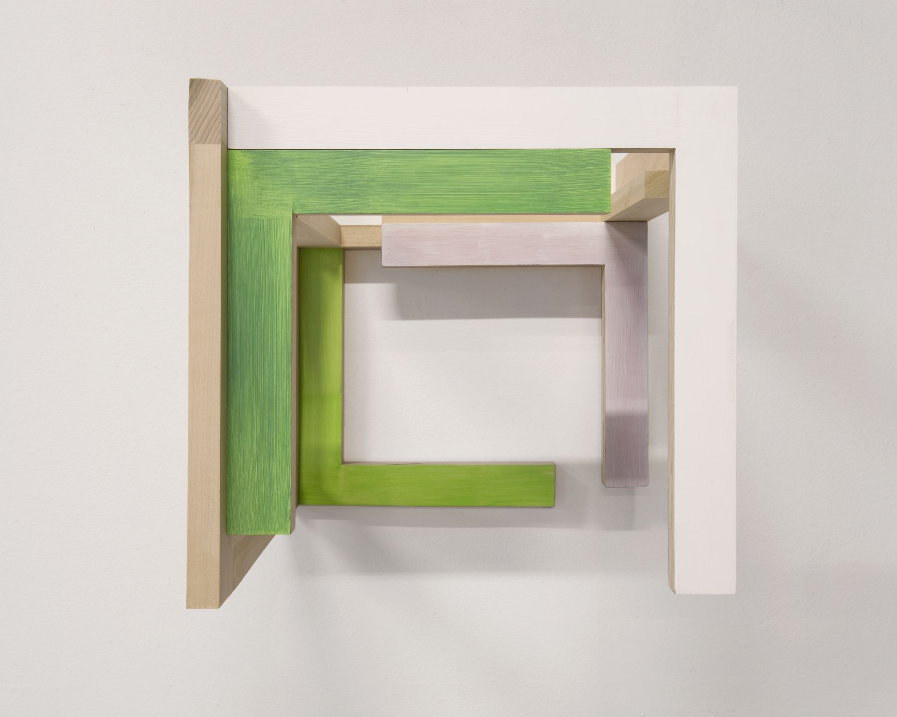 "James Woodfill ""Training Model: Wall Model #3"", birch plywood, poplar, maple with acrylic and gesso, wall mounted, 15"" x 15"" x 15"", 2019, an open wooden wall sculpture, open on the bottom with natural, green, green-yellow, white and pinkish-grey"