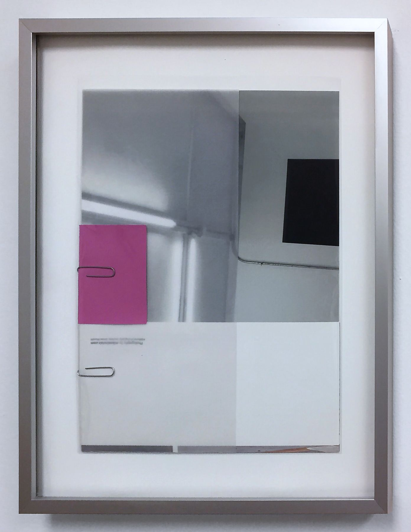"James Woodfill ""untitled (Office Work 1)"", mixed media, inkjet print, office supplies, 15"" x 12"", 2018, color samples in grey, white and pink, and image of Woodfill fluorescent light sculpture, connected with paper clips (office work!)"