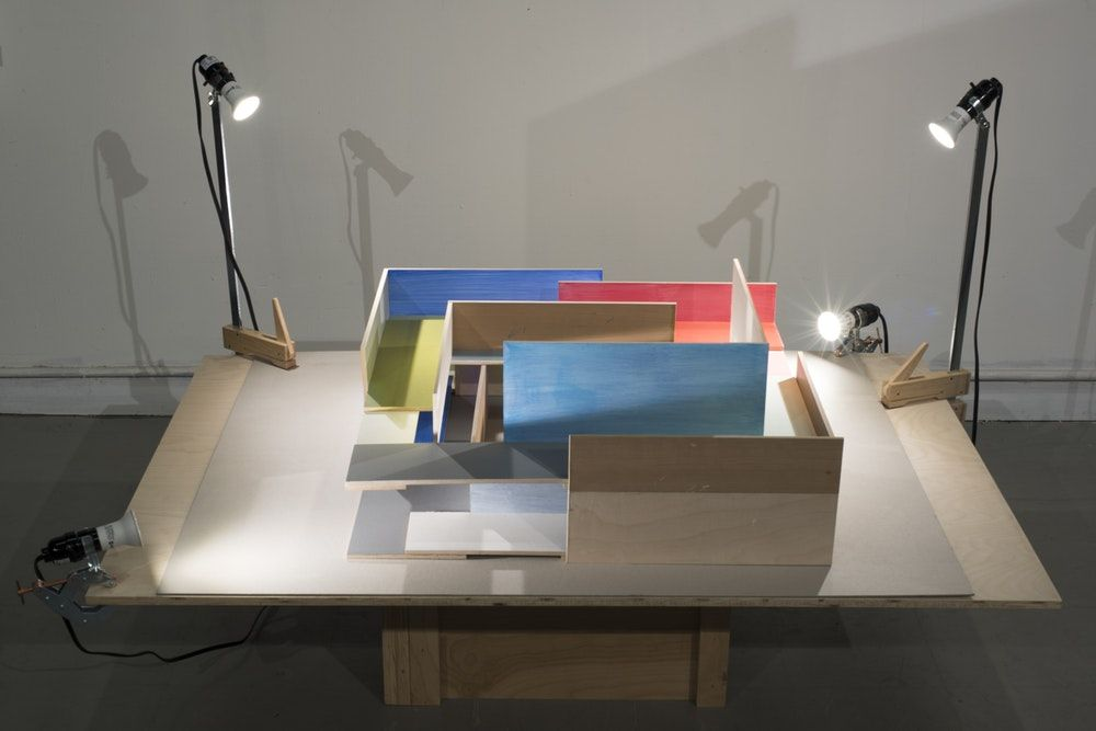 "James Woodfill Frame Sequence: Table Model #2, mixed media, 24"" x 24"" x 10"" (without table and lights), 2019"