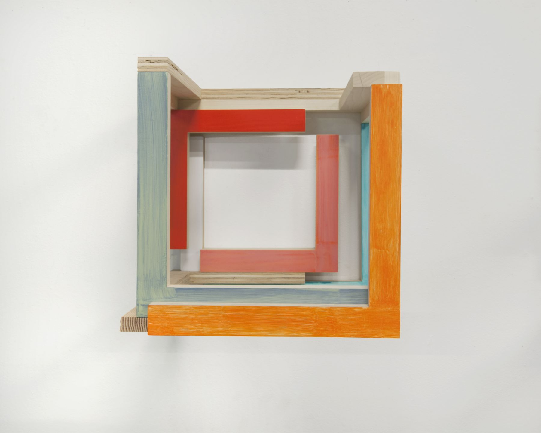 "James Woodfill ""Training Model: Wall Model #2"", birch plywood, poplar, maple with acrylic and gesso, wall mounted, 15"" x 15"" x 15"", 2019, an open wooden wall sculpture with natural, orange, blue-grey, blue, red and pink."
