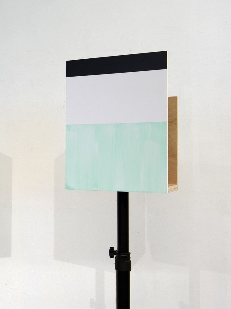 "James Woodfill Box Signal #1, mixed media, 16"" x 12"" x 9"" (without stand), 2019"