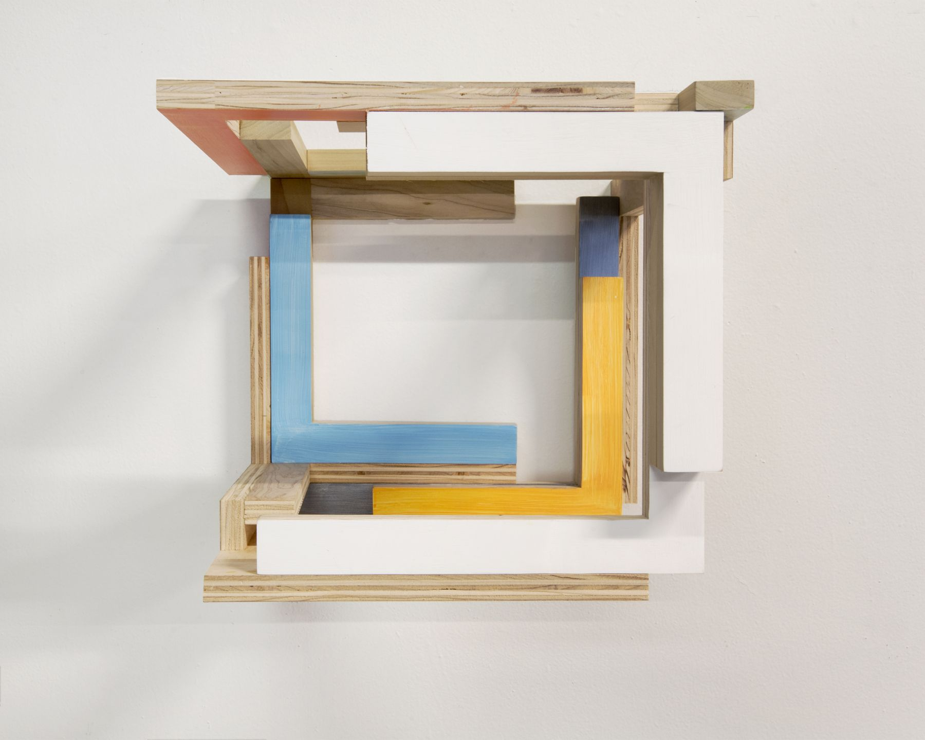 "James Woodfill, ""Training Model: Wall Model #4"", birch plywood, poplar, maple with acrylic and gesso, wall mounted, 15"" x 15"" x 15"", 2019, an open wooden wall sculpture, open on the left with natural, white, orange, sky and sea blue and orange"