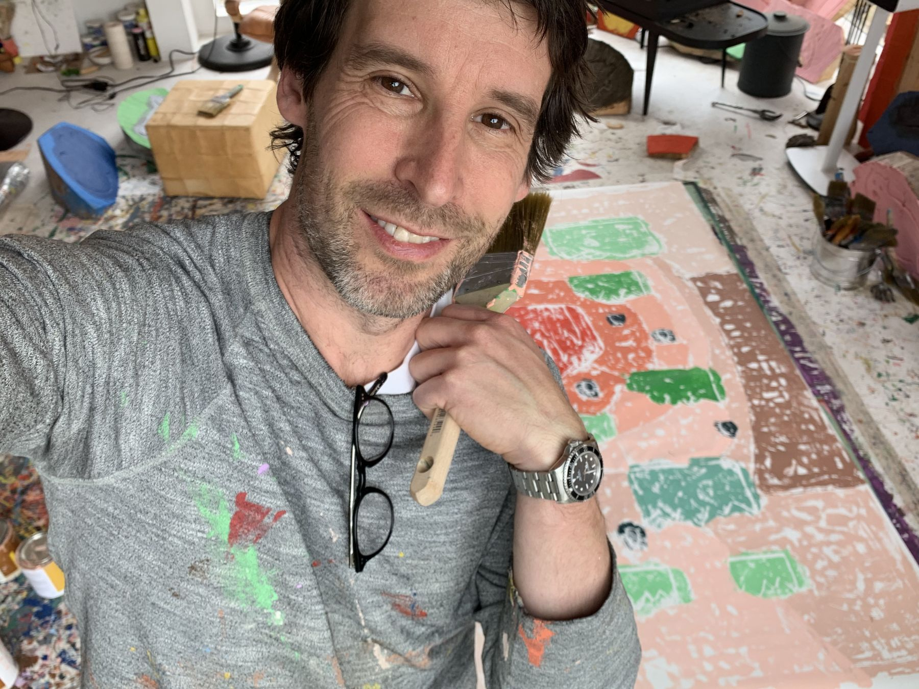 Portrait of the artist Olaf Breuning in his studio