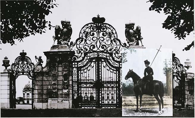 Tragedy (Sissi at the Gates of Belvedere II), 2007. Archival inkjet print on watercolor paper w/watercolor and collage, 59 1/2 x 98 inches (image) (151.1 x 248.9 cm). MP D-150