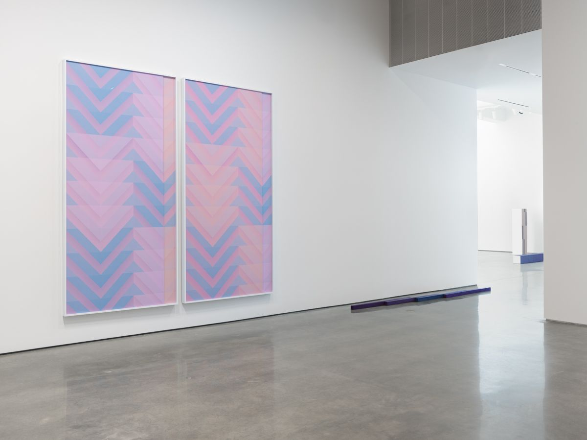 "Sara VanDerBeek, ""Pieced Quilts, Wrapped Forms."" Installation view, 2016. Metro Pictures, New York."