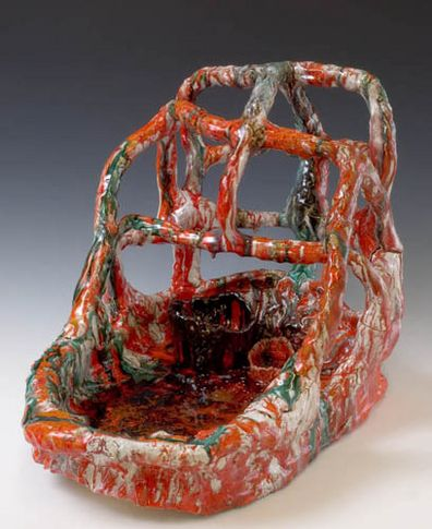 Bread Basket, 2007. Ceramic, formica pedestal. Sculpture: 17.5 x 23 x 16 inches (44.5 x 58.4 x 40.6 cm); pedestal: 40 x 30 x 23 inches (101.6 x 76.2 x 58.4 cm). MP 24