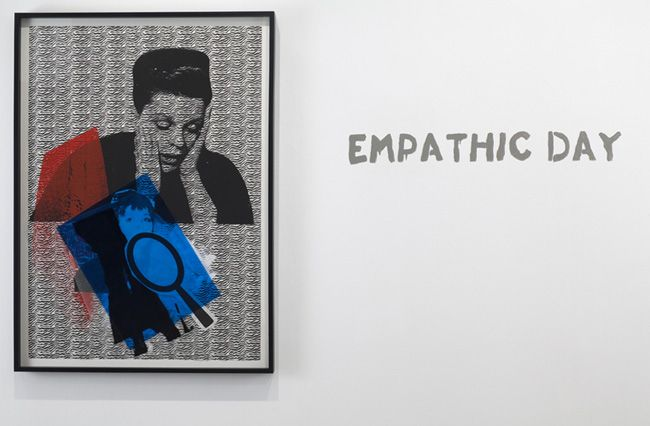 Paulina Olowska, Empathic Day, 2009. Silkscreen on paper, glue, colored gels, tape, foil, oil marker, 55-3/4 x 39-1/4 inches (137.8 x 98.4 cm). 60-1/8 x 43-5/8 inches (framed) (152.1 x 107.6 cm). MP D-47