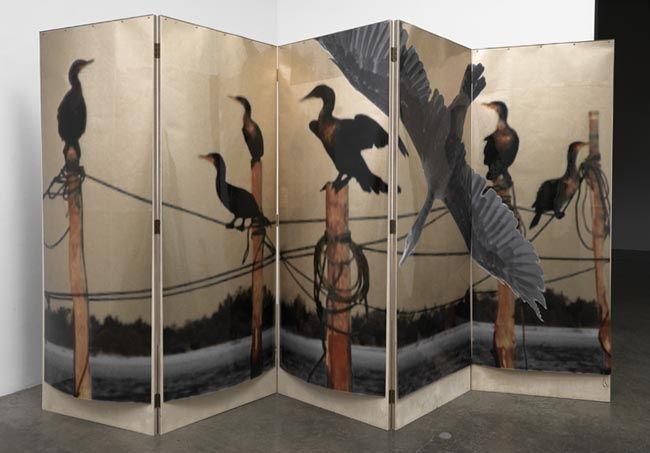L'eau de vie Screen #2, 2010. Acetate, foil, mdf, 5 panels, 76 x 28 x 1 inches (each panel); 76 x 140 x 1 inches (overall). MP 131