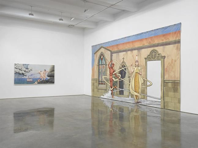 "Jim Shaw, ""I Only Wanted You to Love Me."" Installation view, 2014. Metro Pictures, New York."
