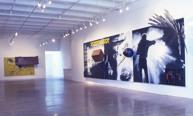 """Steel Angels: Part I,"" installation view, 1986. Metro Pictures, New York."