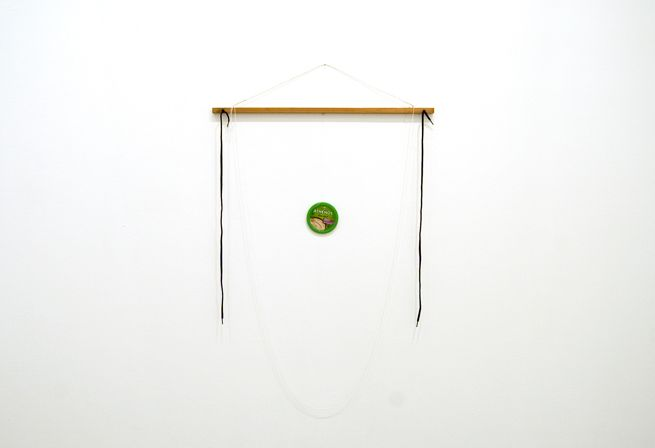 Untitled, 2010. Wood, wire, screw eyes, nails, shoelaces, string, thread, 51 x 32 x 1.5 inches (129.5 x 81.2 x 3.8 cm). MP 41