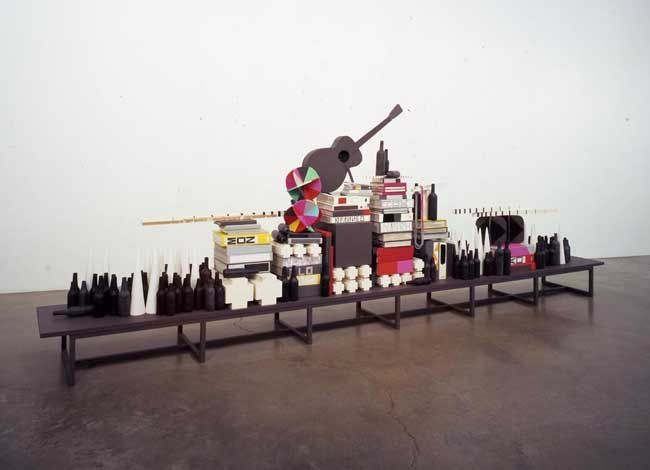 Dark Mountain Party, 2007. Wood, plaster, wax, paper, 70 x 192 x 22-1/2 inches (177.8 x 487.7 x 54.6 cm). MP 5