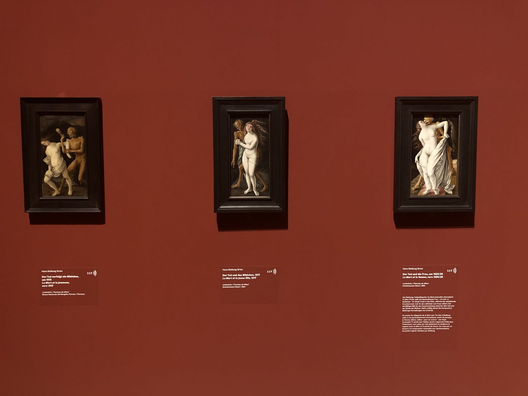 Hans Baldung Grien, Death and the Maiden/ Left: oil on panel, 1513, 30 x 16cm, Museo Nazionale del Bargello, Florence/ Center: oil on panel, 1517, 30 x 15cm, Kunstmuseum Basel, Basel/ Right: oil on panel, ca. 1520-25, 30 x 17cm, Kunstmuseum Basel, Basel