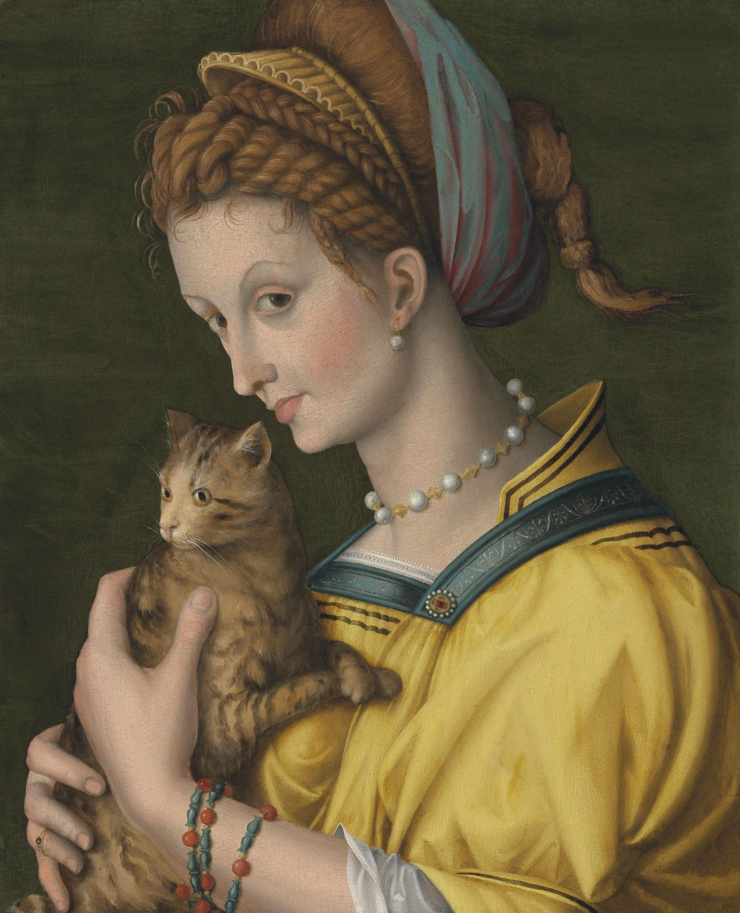 Antonio d'Ubertino Verdi, called Bacchiacca (1499 – 1572) Portrait of a Young Lady Holding a Cat Private Collection Nicholas Hall Art Gallery Dealer Old Masters