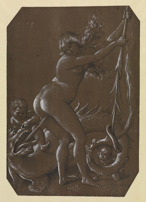 Hans Baldung Grien, Young Witch and Fish-shaped Dragon, black pen with gray wash and white highlights on brown primed paper, 1515, 29.5 x 21cm, Staatliche Kunsthalle, Karlsruhe
