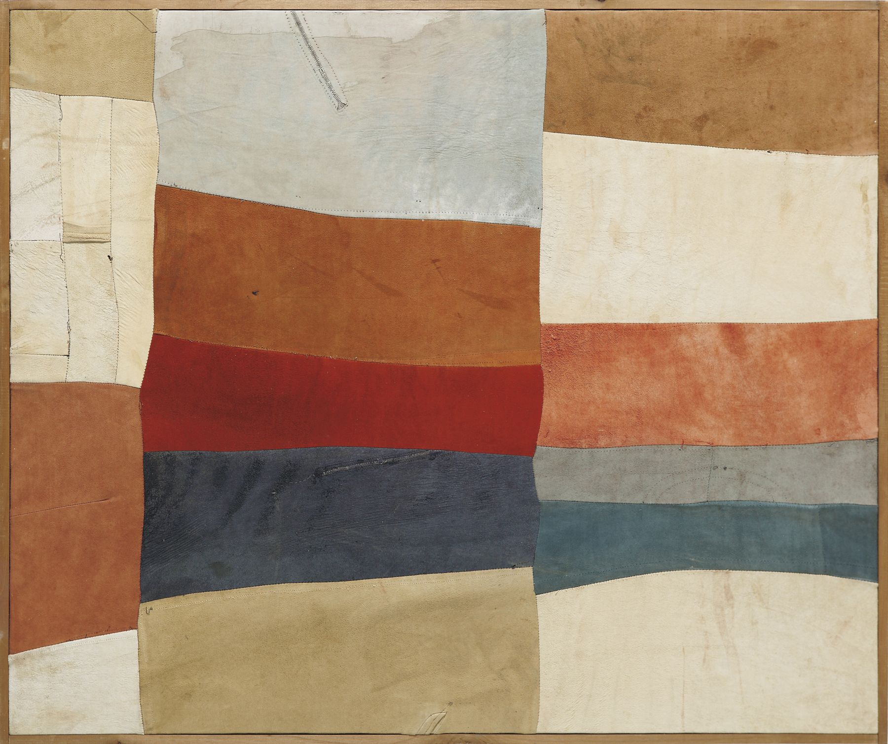 Nuvolo (Giorgio Ascani). Untitled. 1961. Dyed and sewn deerskin, 83 by 100 cm (32⅝ by 39⅜ in.)