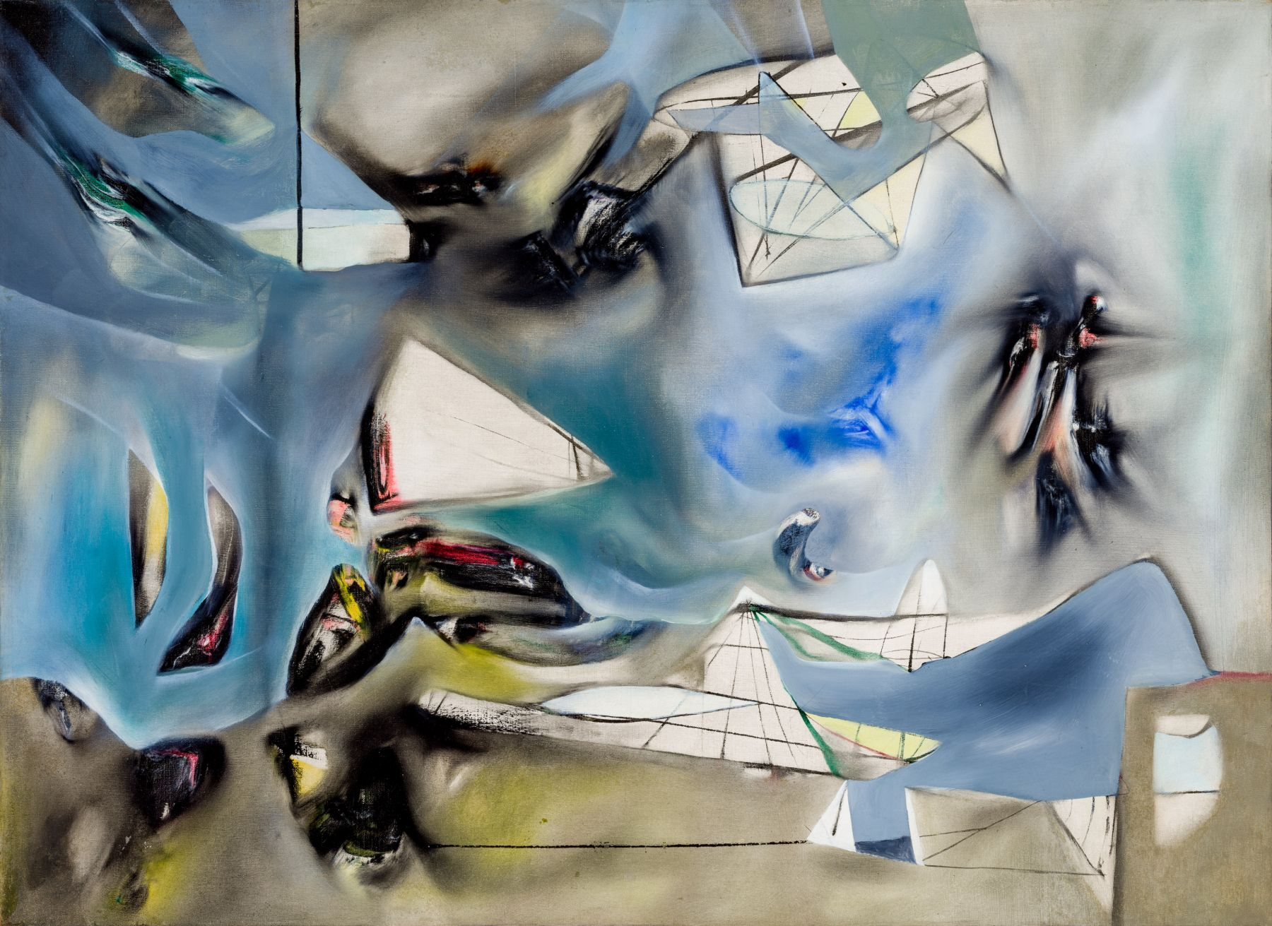 Matta. Centro del agua (Center of Water). 1941. Oil on canvas, 54.7 by 74.5 cm (21½ by 29⅜ in.). © 2019 Artists Rights Society (ARS), New York / ADAGP, Paris