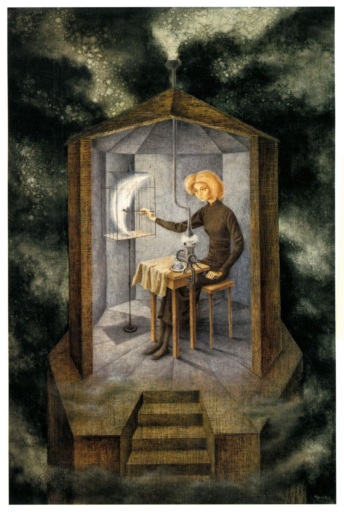 Remedios Varo. Papilla estelar (Celestial Pablum). 1958. Oil on Masonite, 91.5 by 60.7 cm (36⅛ by 23⅞ in.). Colección FEMSA. © 2019 Artists Rights Society (ARS), New York / VEGAP, Madrid