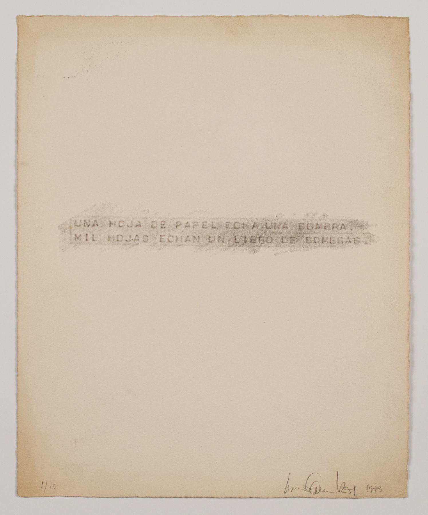 Luis Camnitzer, Una hoja de papel echa una sombra. Mil hojas echan un libro de sombras., 1973
