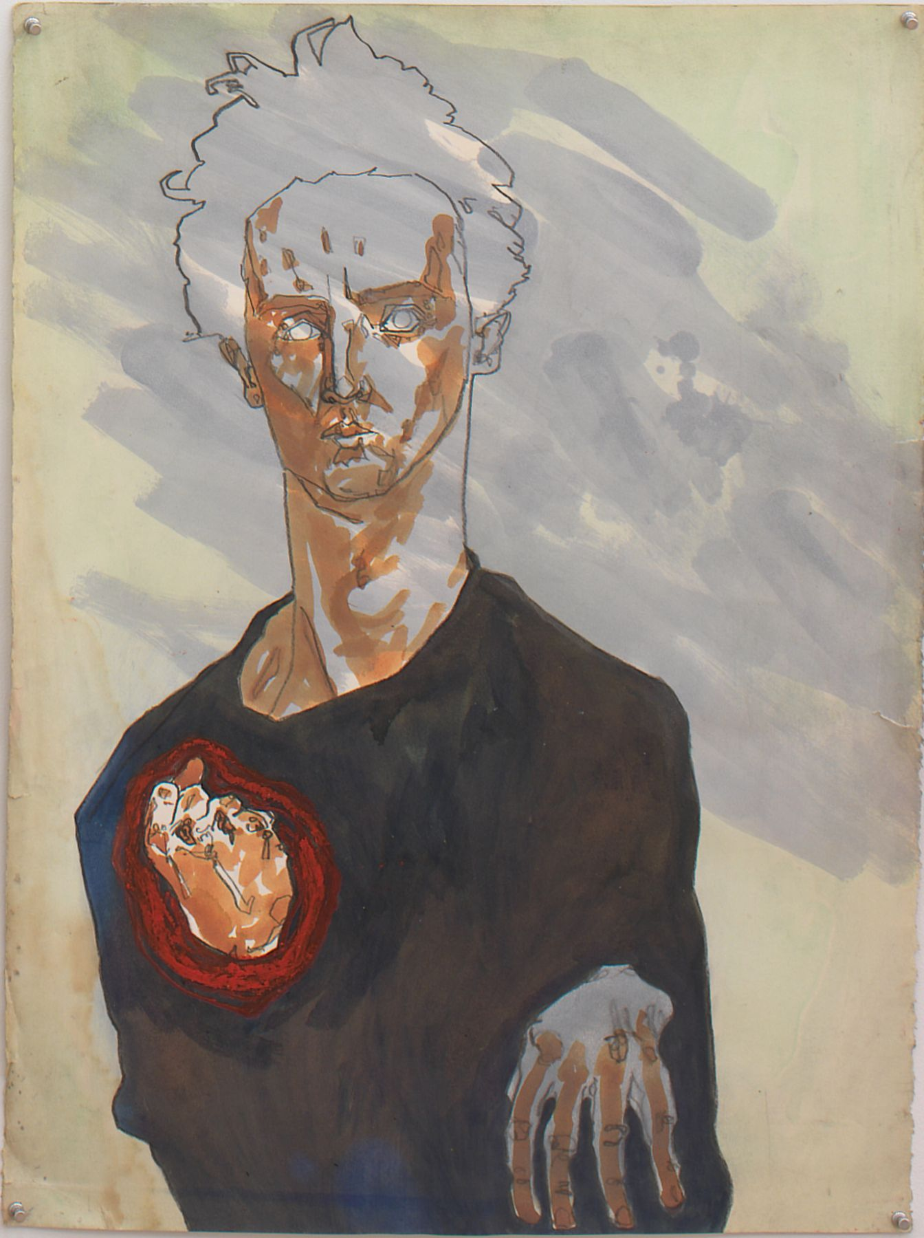 Self Portrait with Red Fist, 1982, Ink, graphite and oil pastel on paper