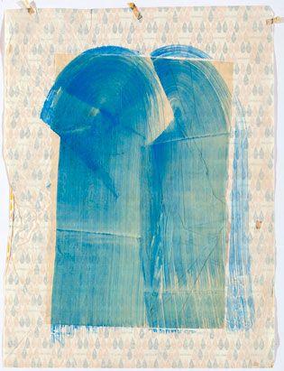 Waterfall (c1986) Waterpaint on waechter wraping paper