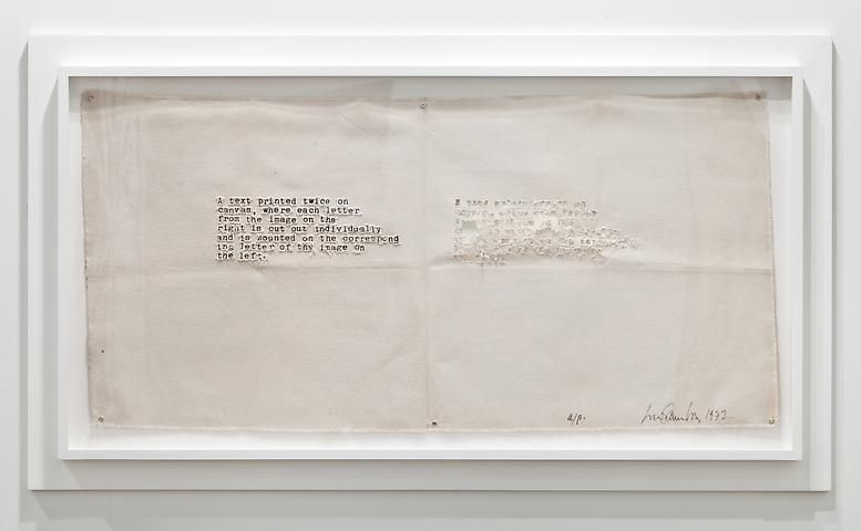 Luis Camnitzer, A Text Printed Twice on Canvas (1972)