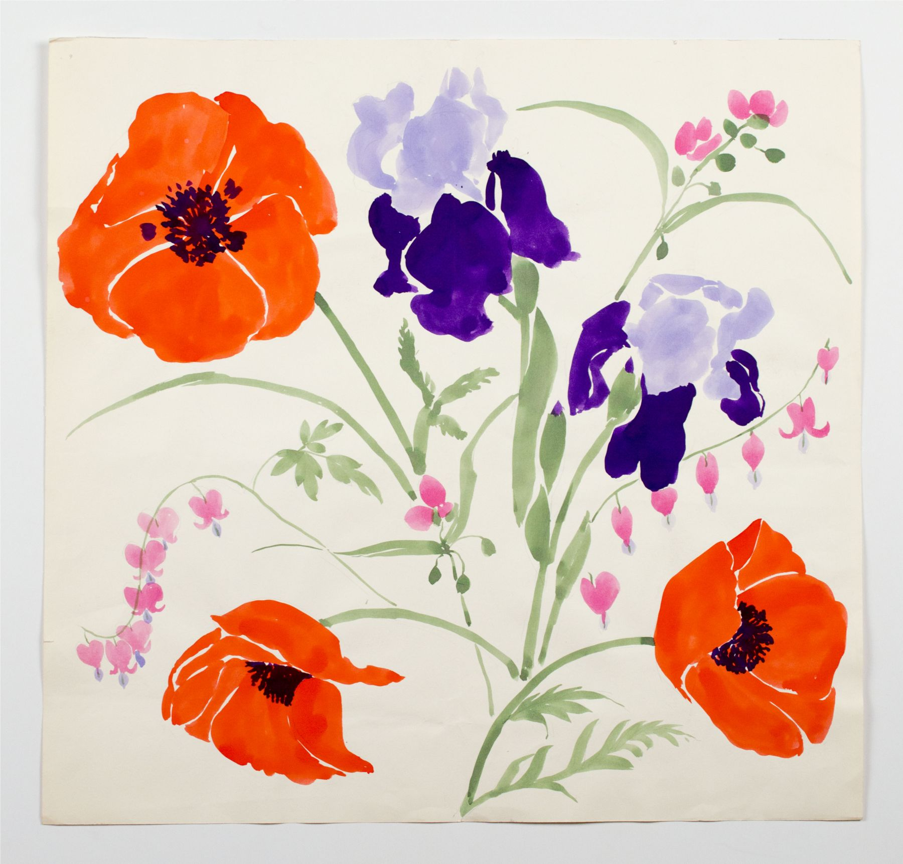 "Iris and Poppies, from the ""Florals"" series, c. 1984, Watercolor on paper"
