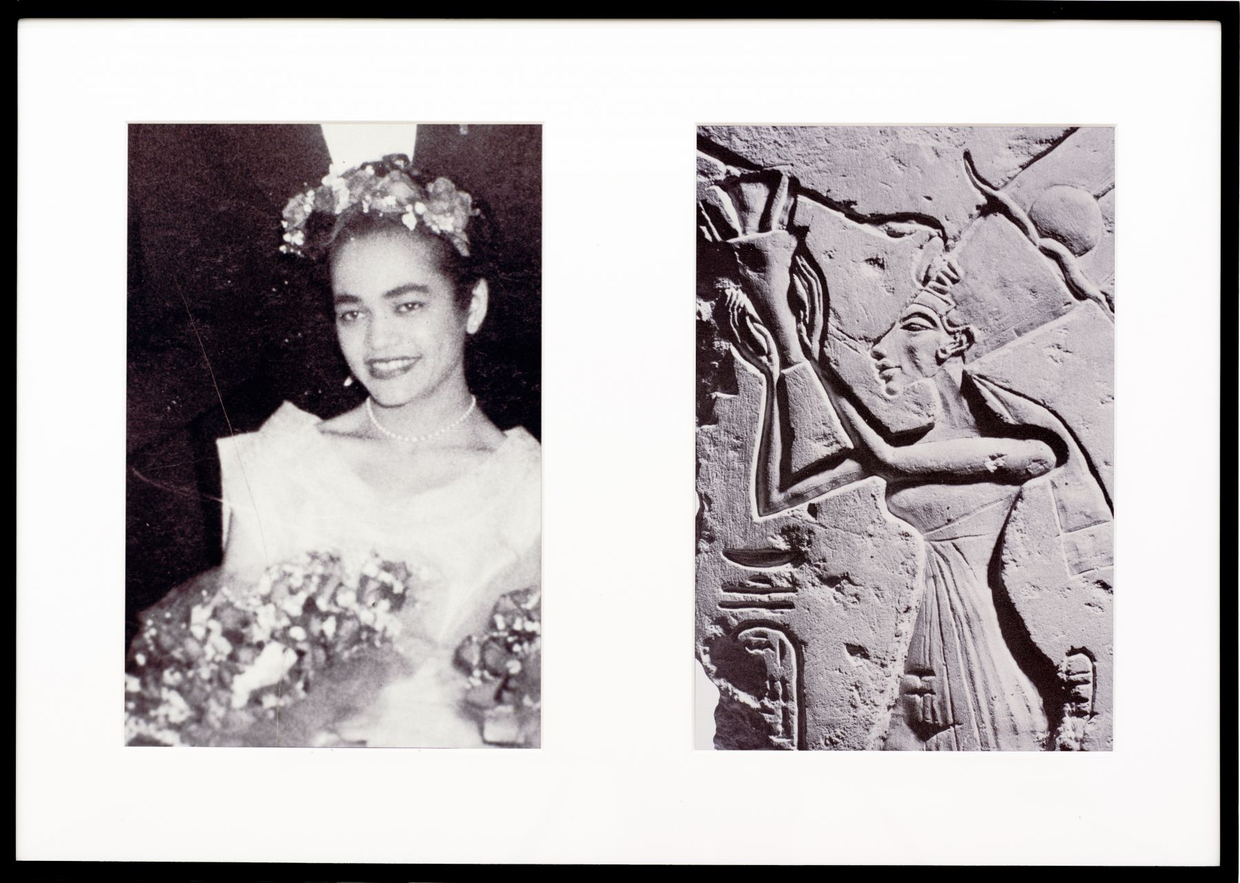 Miscegenated Family Album (Ceremonial Occasions I), L: Devonia as Matron of Honor; R: Nefertiti performing a lustration, 1980/1994, Cibachrome prints, 26h x 37w in, (66.04h x 93.98w cm)