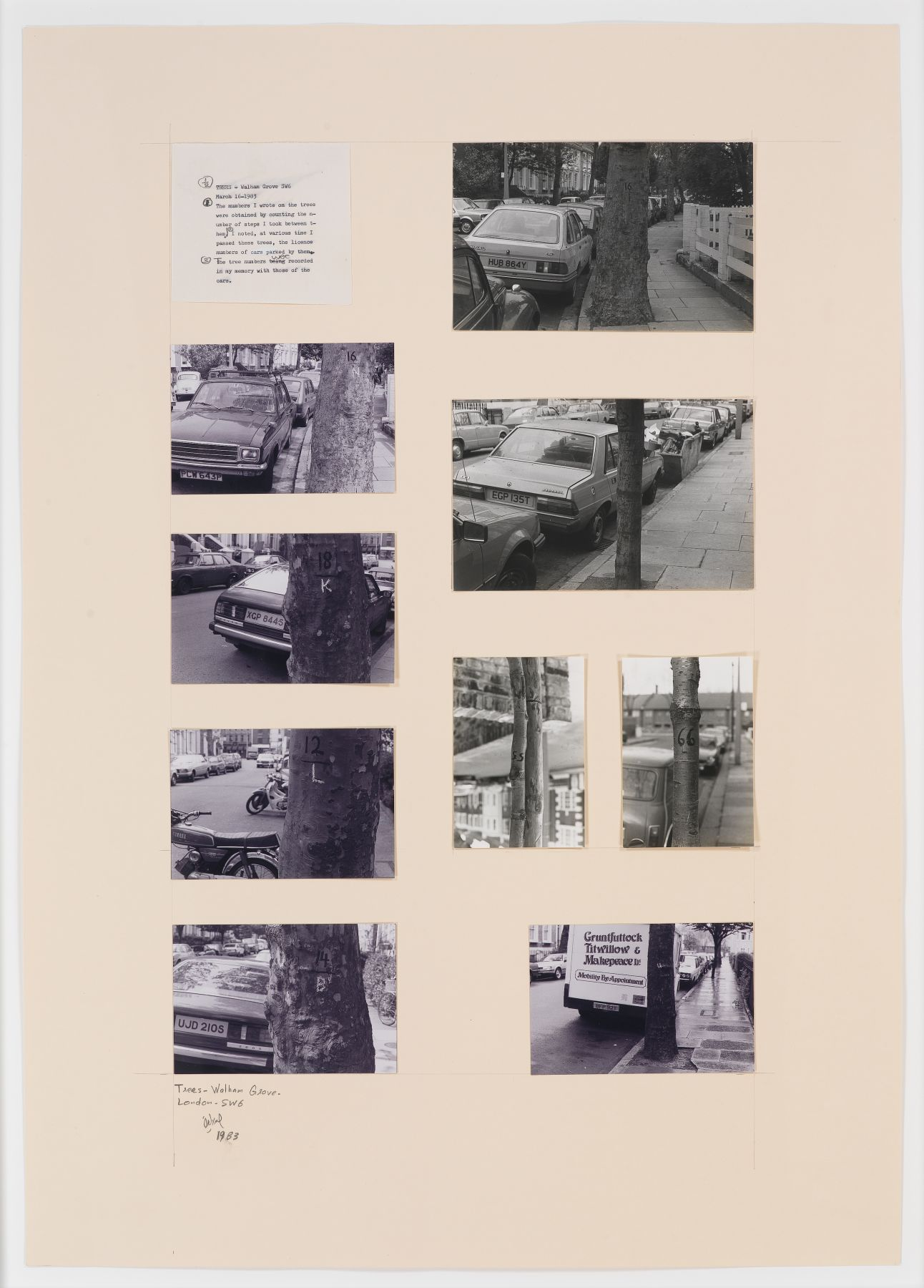 Trees - Walham Grow Road - London, 1983, Photographs and original text on paperboard