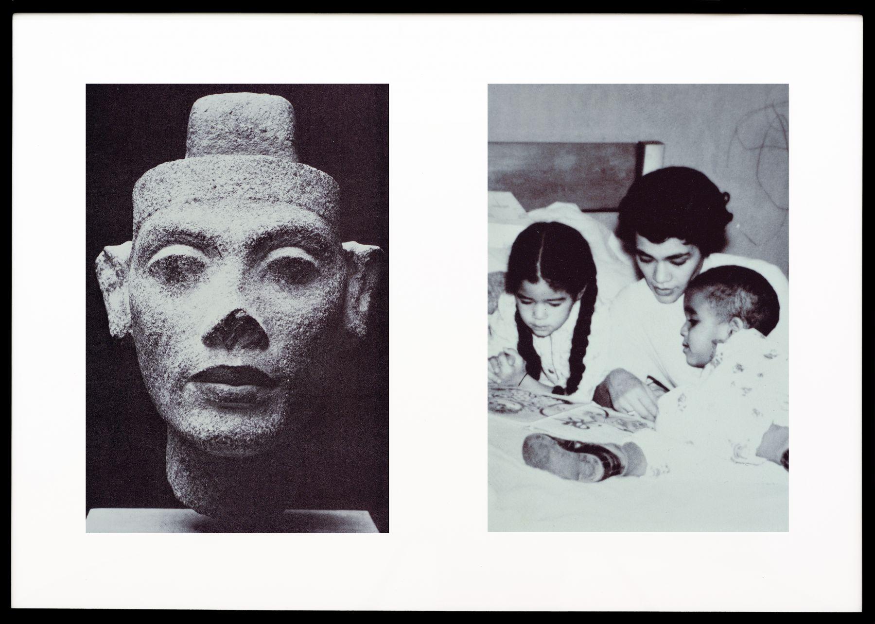 Lorraine O'Grady, Miscegenated Family Album (Motherhood), L: Nefertiti; R: Devonia reading to Candace and Edward, Jr., 1980/1994