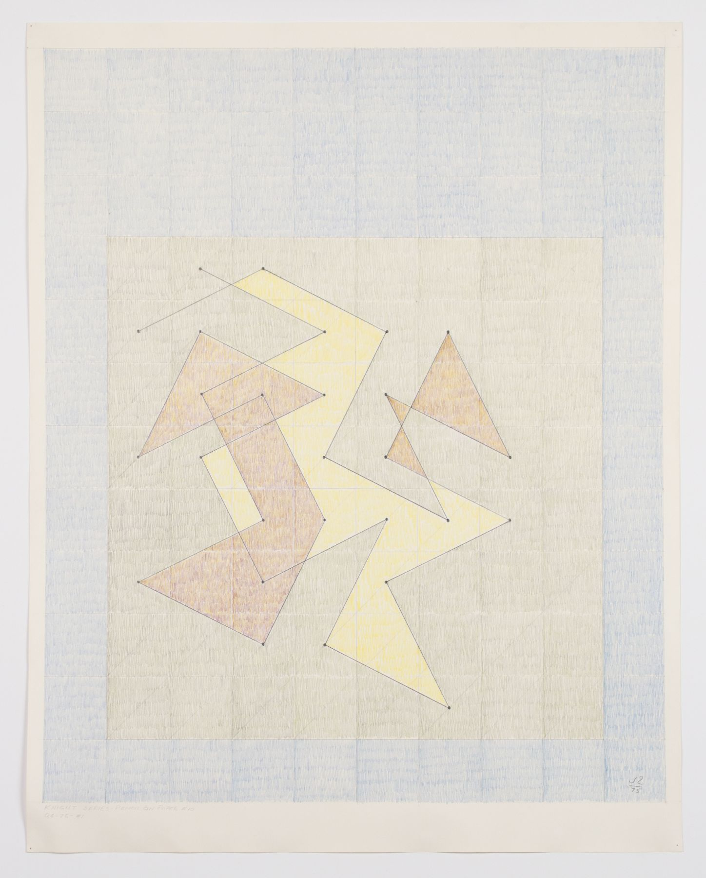 Knight Series - Pencil on paper #10 (Q4-75 #1), 1975, Graphite and colored pencil on paper