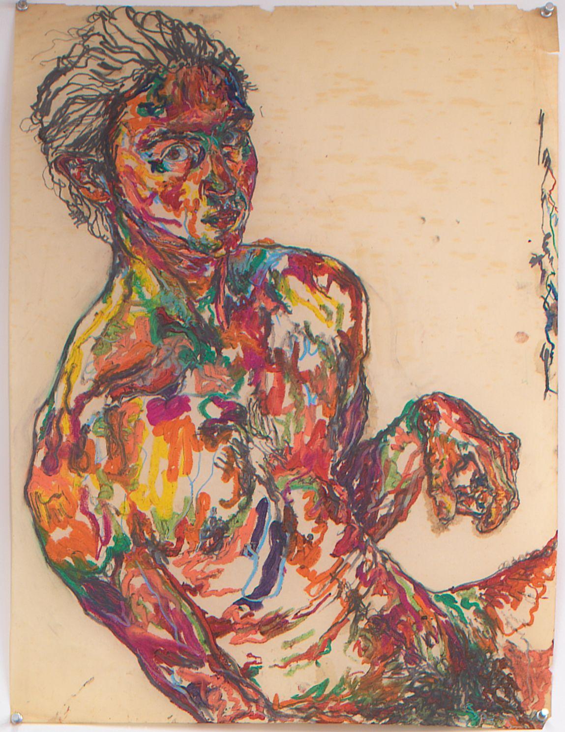 Self Portrait I, 1979, Oil pastel and graphite on vellum