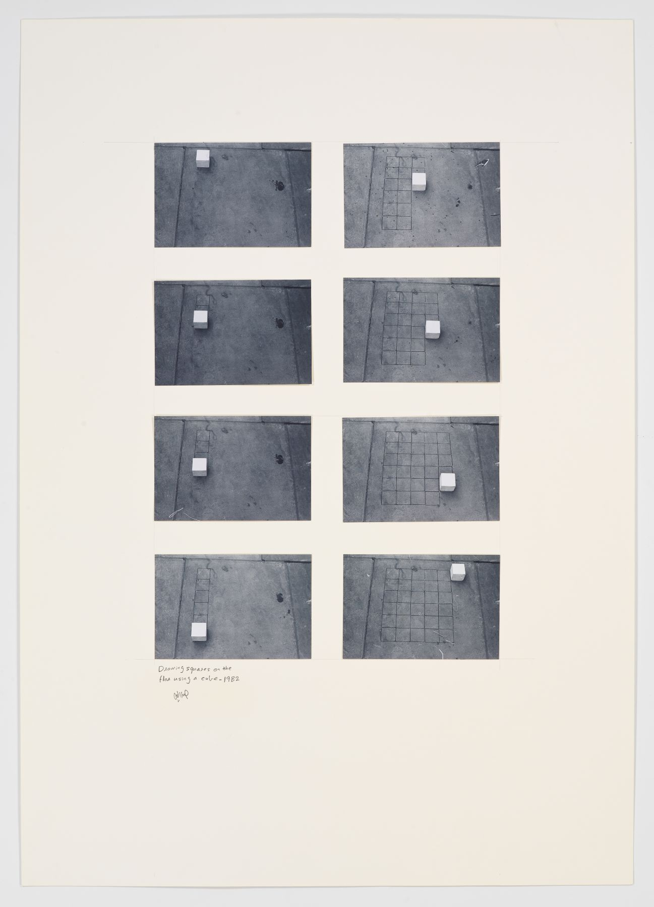 Drawing Squares on the Floor Using a Cube, 1982, Photographs on paperboard in 8 parts
