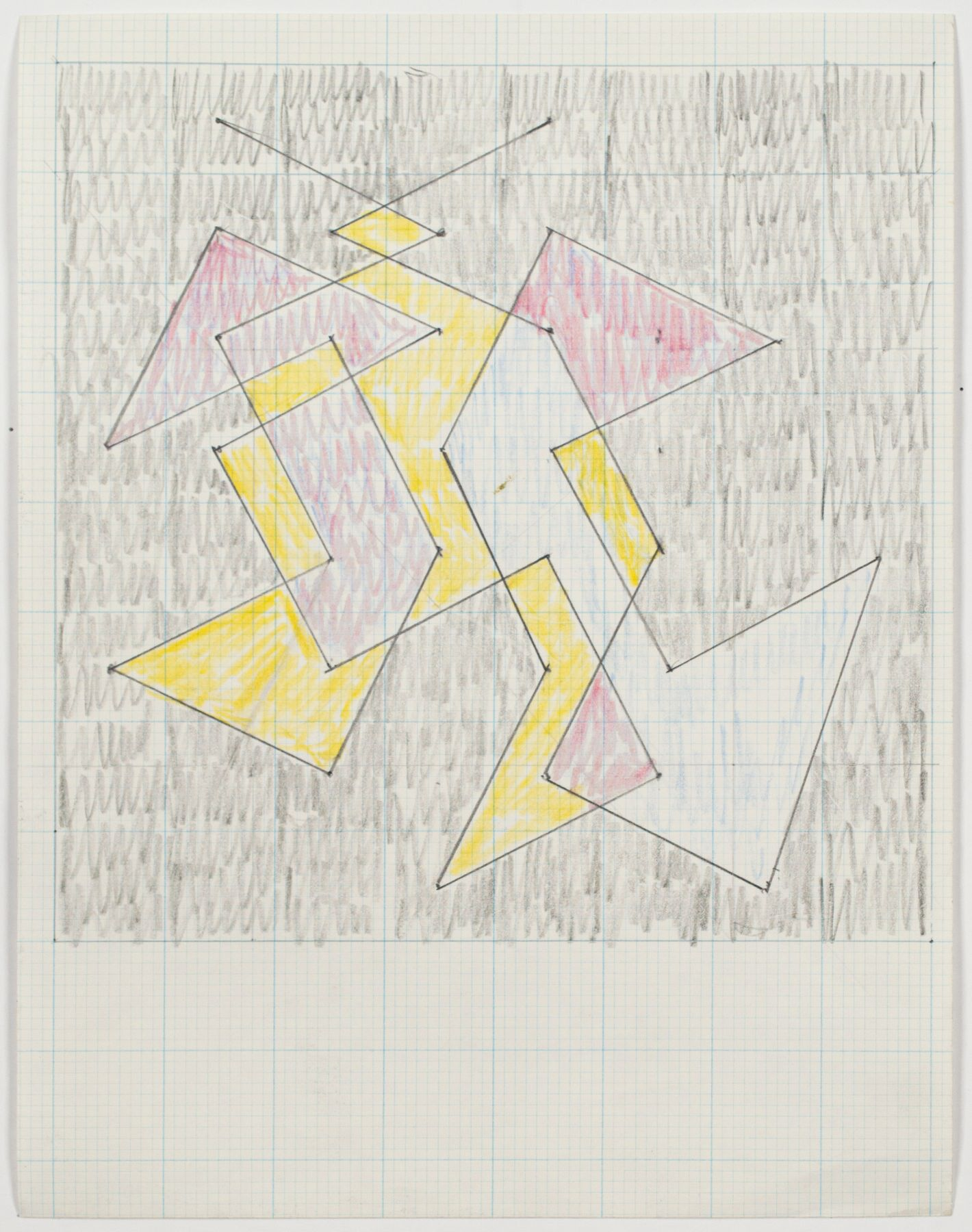 """Study for """"Knight Series"""", c. 1975, Graphite and colored pencil on graph paper"""