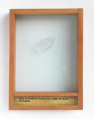Luis Camnitzer Piece of Glass or Plastic on a Sheet of Glass or Plastic (1973-1976); Mixed media
