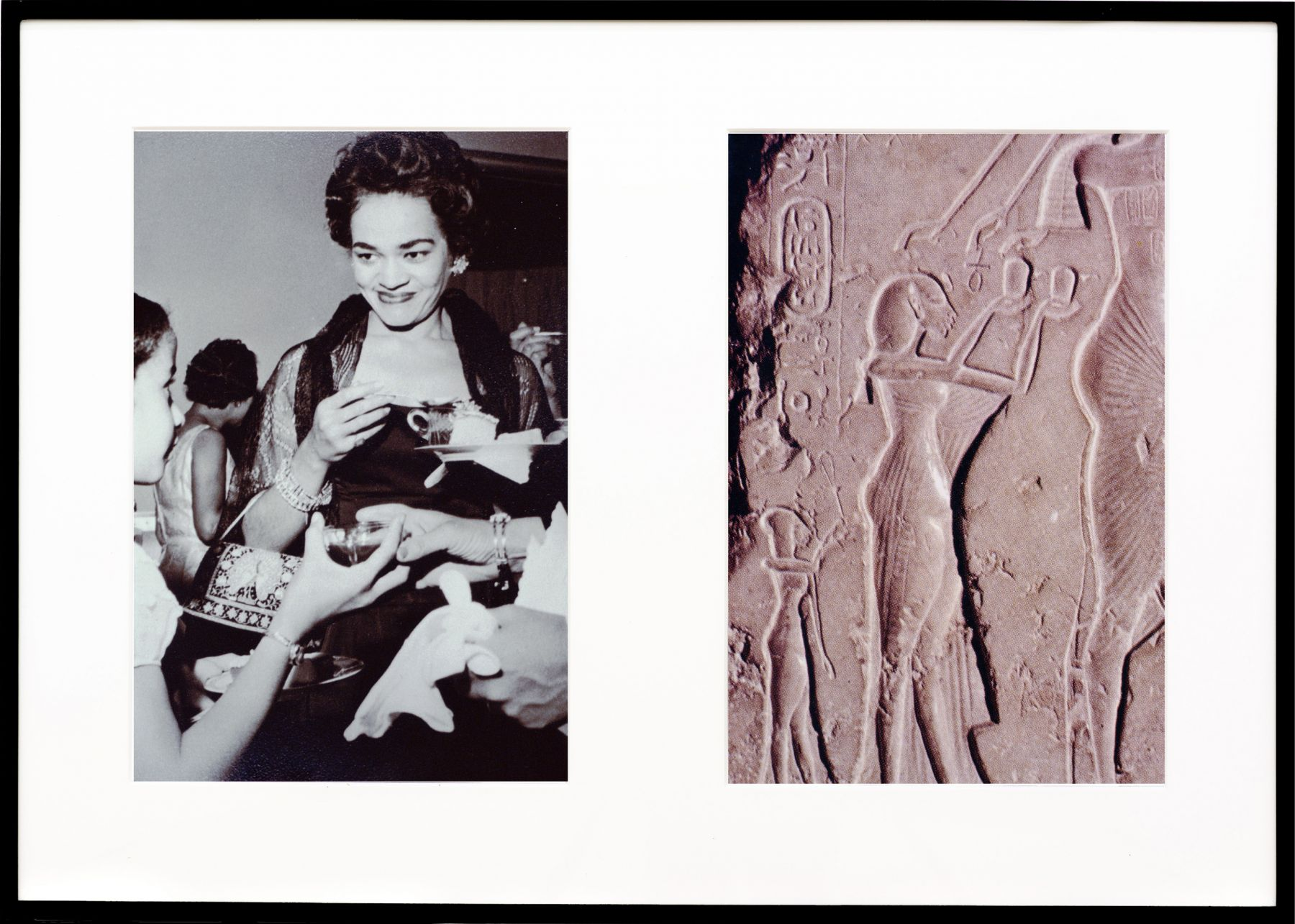 Lorraine O'Grady, Miscegenated Family Album (Ceremonial Occasions II), L: Devonia attending a wedding; R: Nefertiti performing an Aten ritual, 1980/1994
