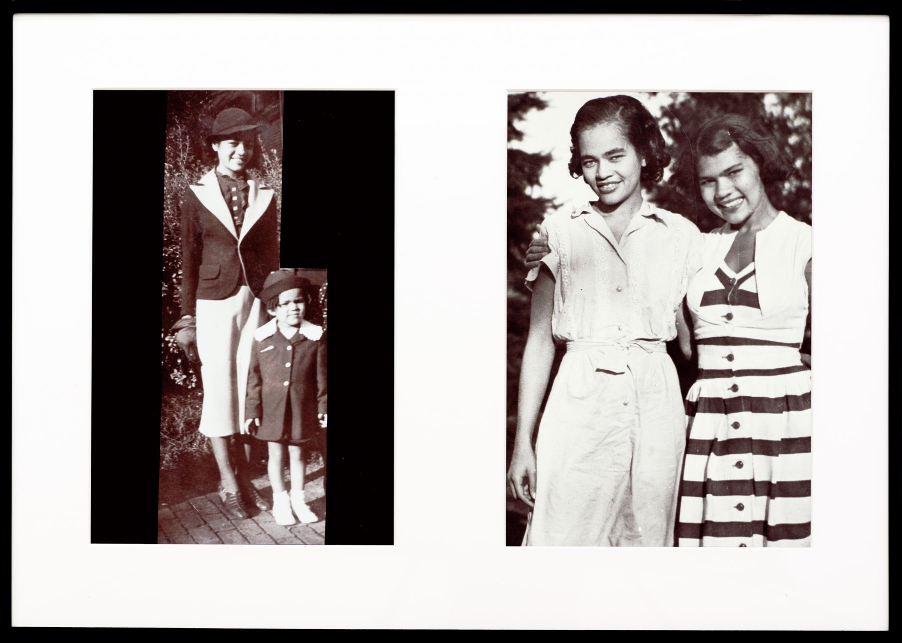 Miscegenated Family Album (Hero Worship), L: Devonia, age 14; and Lorraine, age 3; R: Devonia, age 24; and Lorraine, age 13, 1980/1994, Cibachrome prints, 26h x 37w in (66.04h x 93.98w cm)