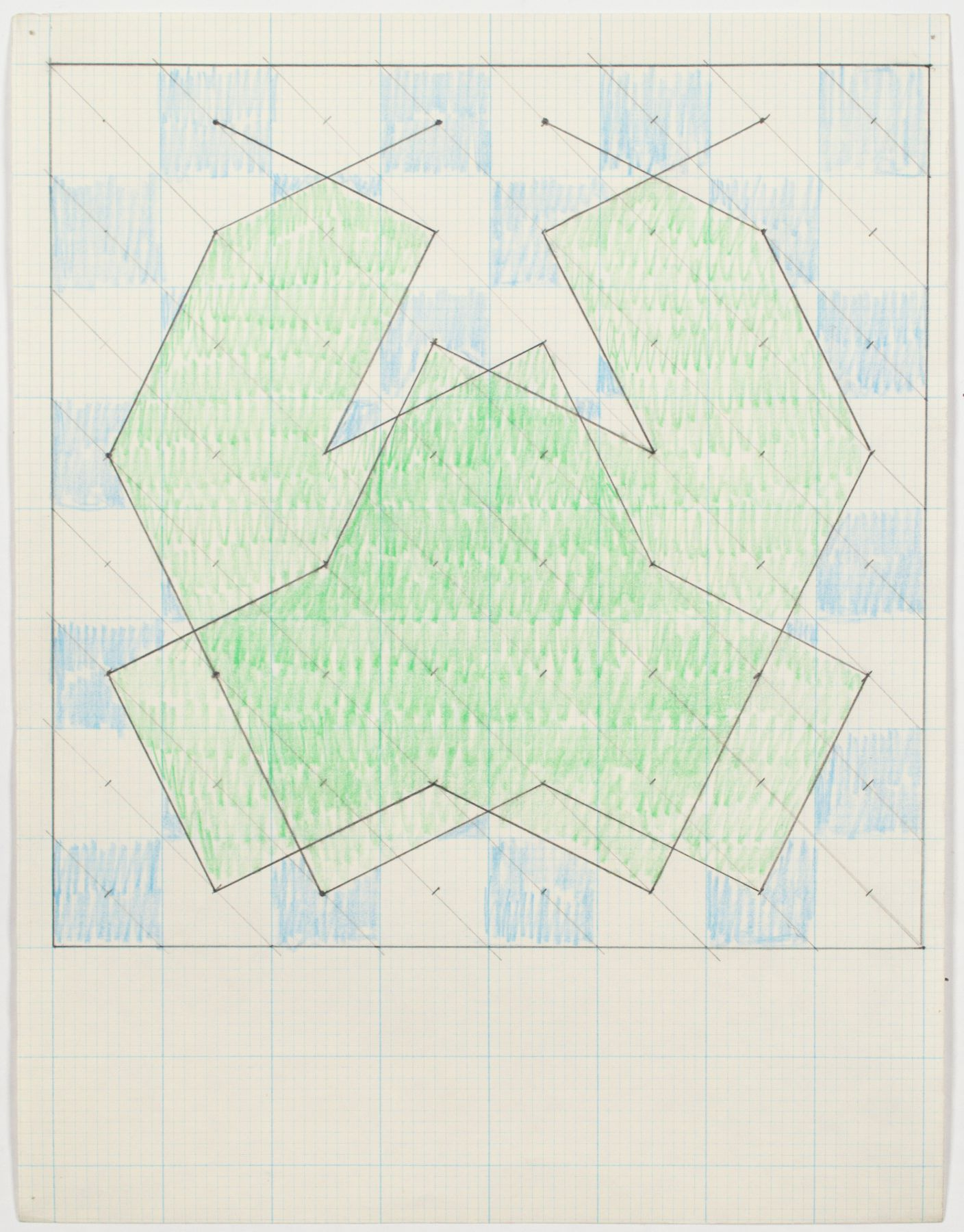 """Study for """"Knight Series"""", 1975, Graphite and colored pencil on graph paper"""
