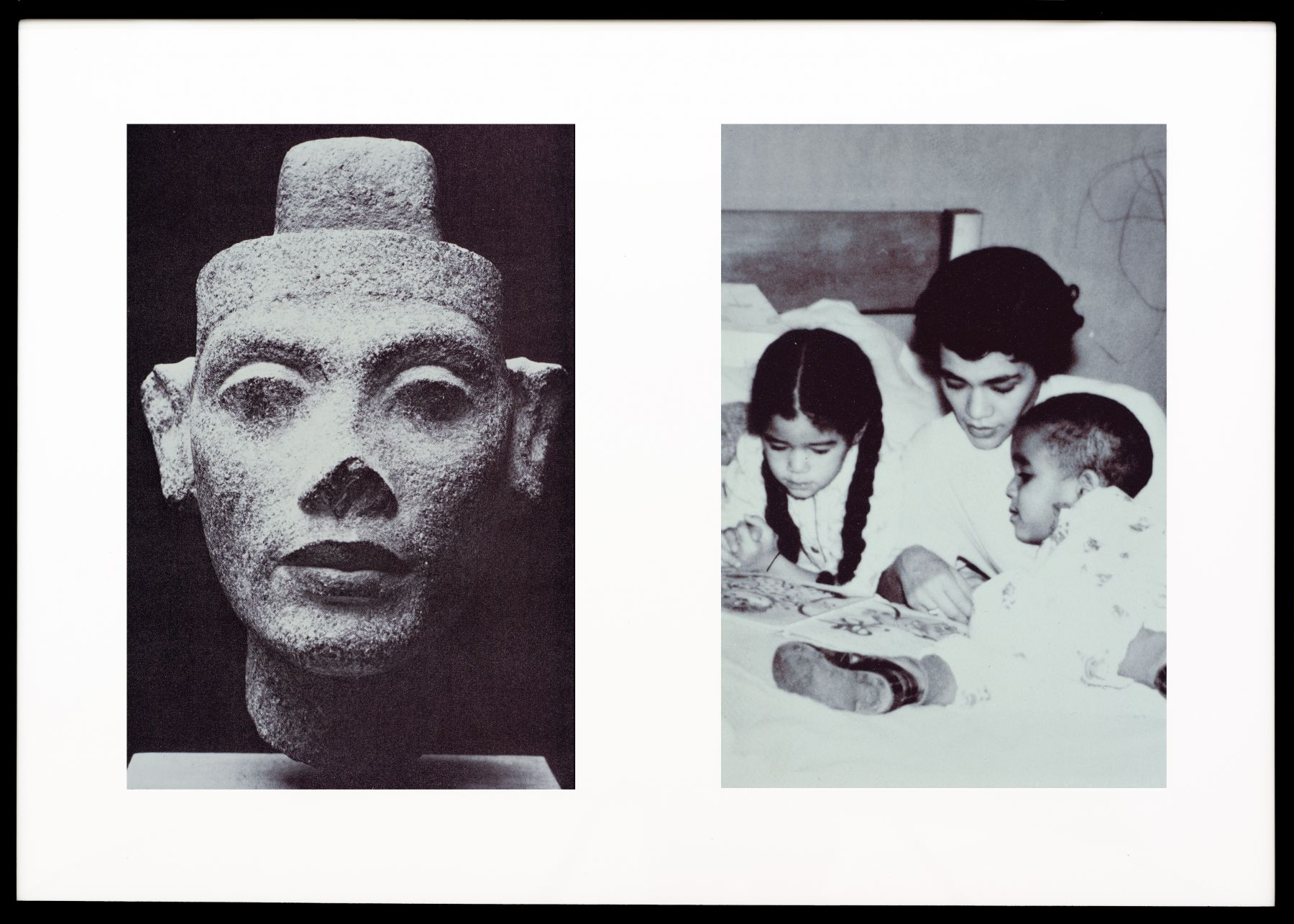 Miscegenated Family Album (Motherhood), L: Nefertiti; R: Devonia reading to Candace and Edward, Jr., 1980/1994, Cibachrome prints, 26h x 37w in, (66.04h x 93.98w cm)