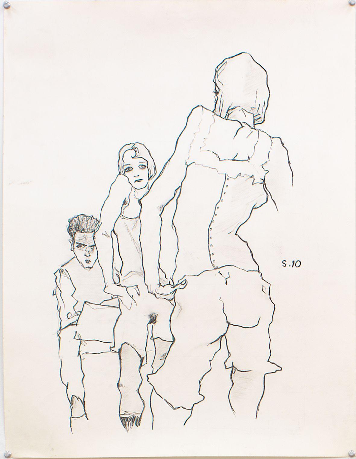 Self Portrait after Egon Schiele for Animation, 1995, Graphite on paper