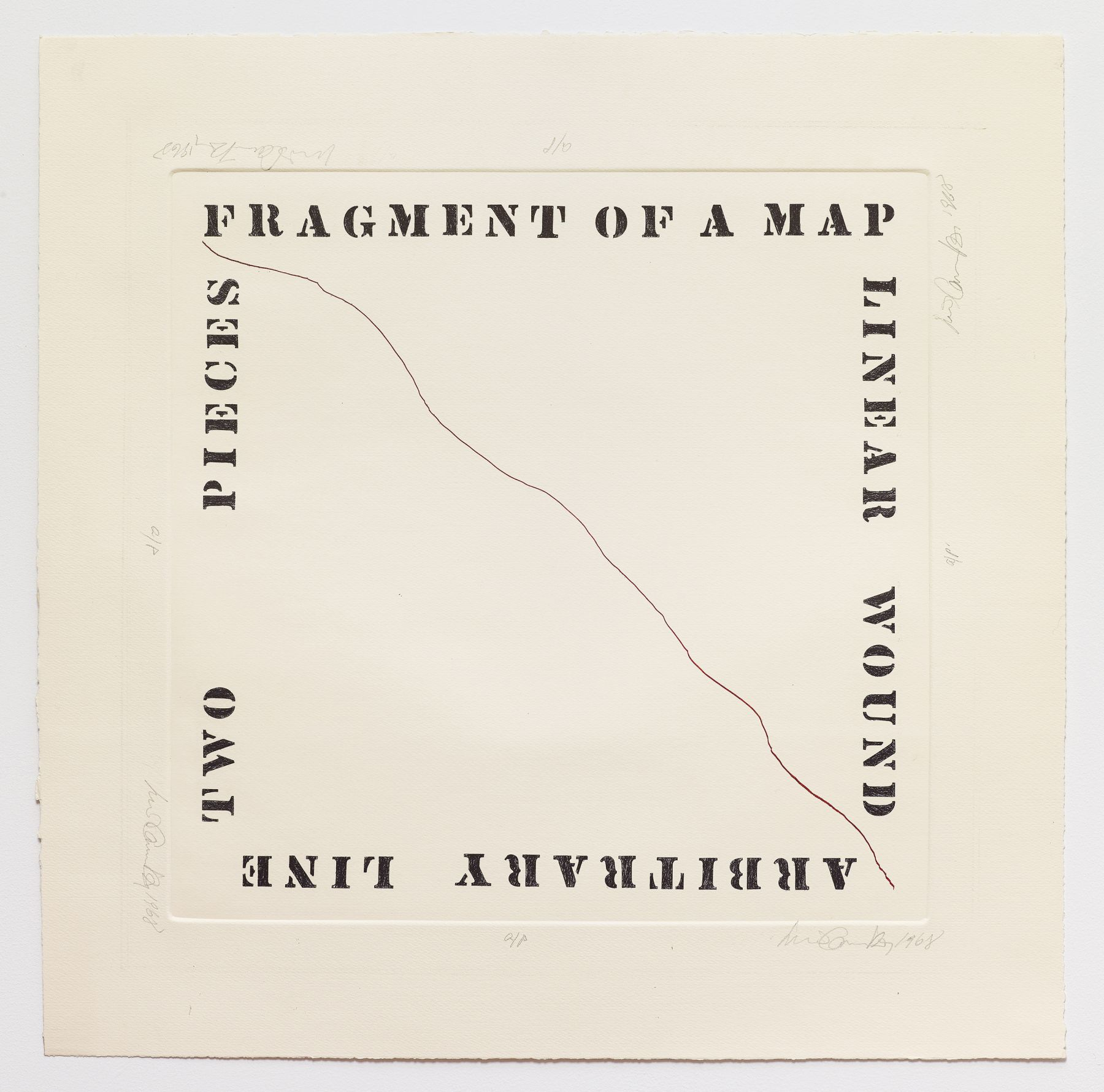 Luis Camnitzer, Fragment of a Map, 1968, Etching