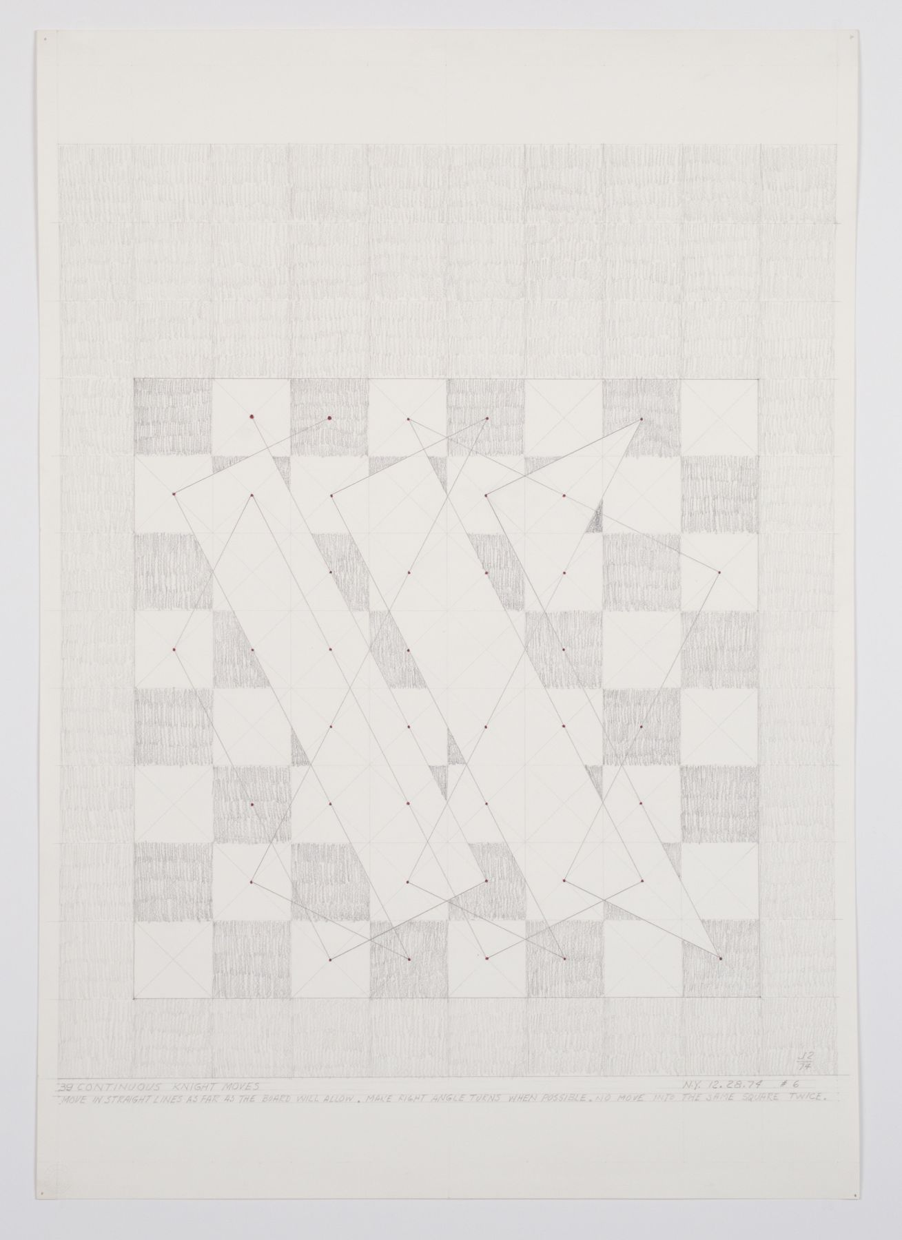 39 Continuous Knight Moves (NY 12-28-74 #6), 1974, Graphite on paper