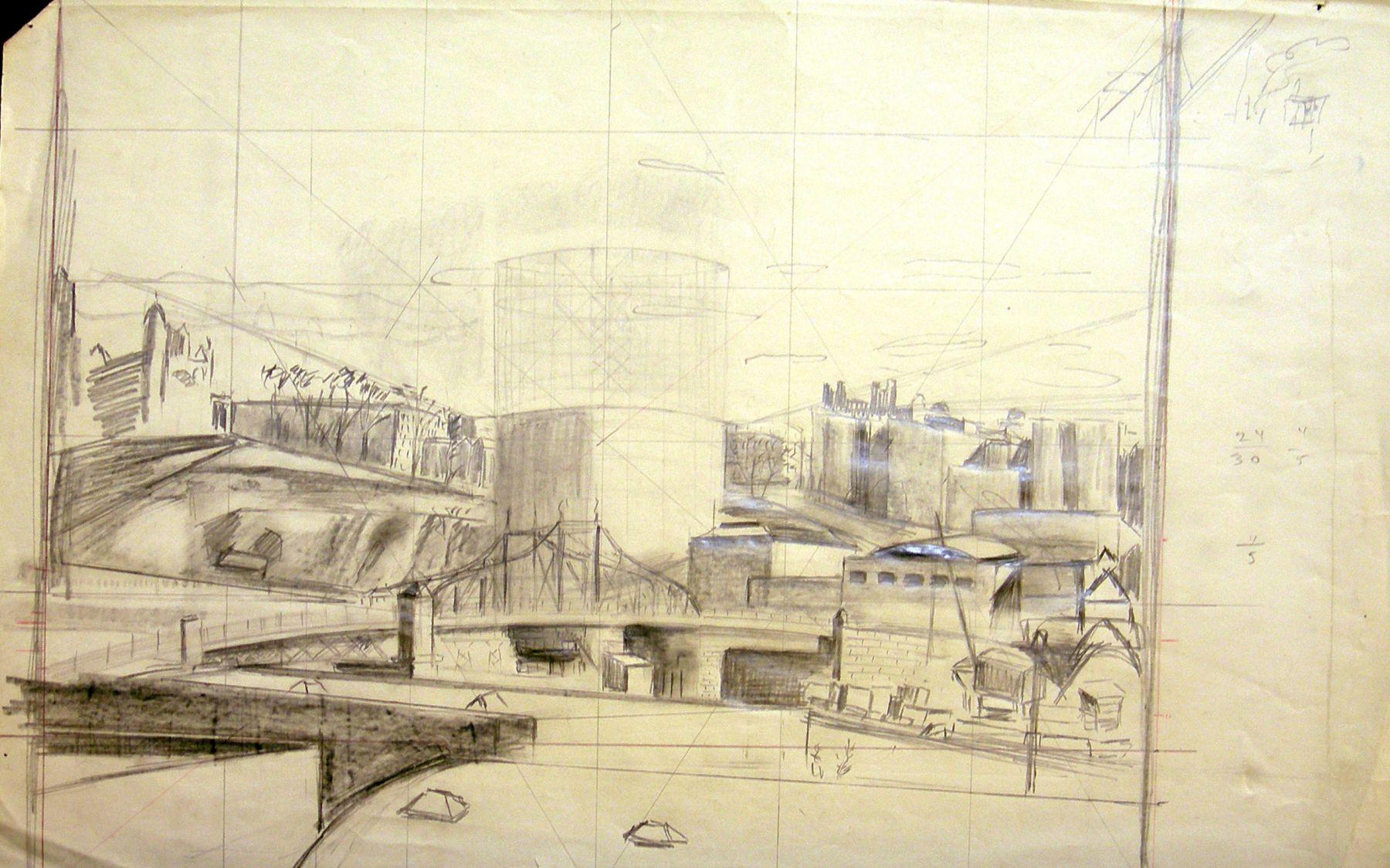 Untitled (Study for Harlem River Landscape), c. 1932, Graphite on paper