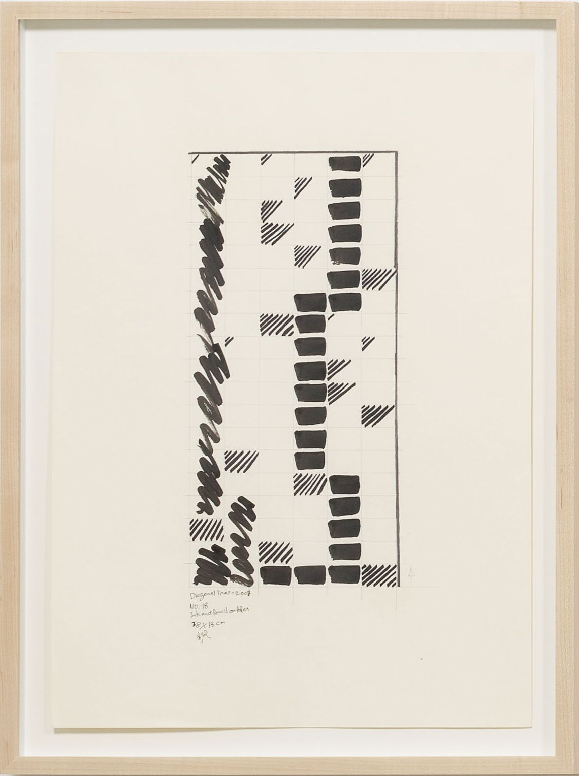 Diagonal Line No. 18, 2008, Ink and pencil on paper
