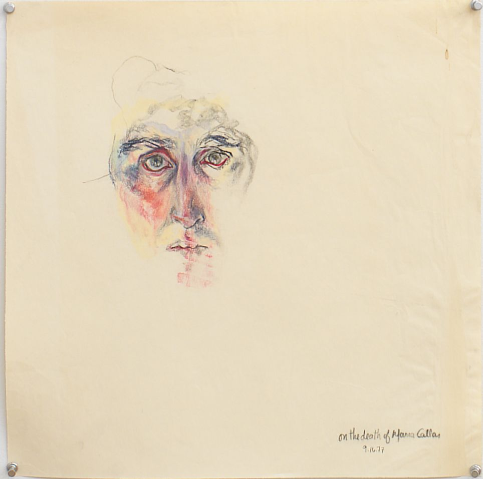 On the Death of Maria Callas, 1977, Pastel and graphite on paper