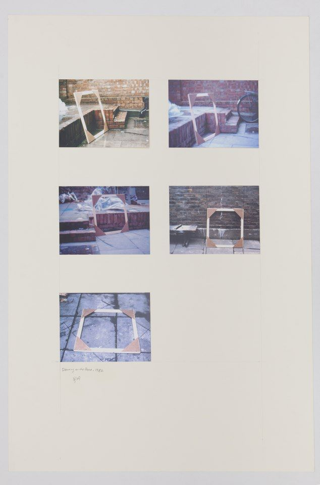 Drawing on the Wall and Floor, Using Charcoal, 1982, Photographs and pencil on mounting board