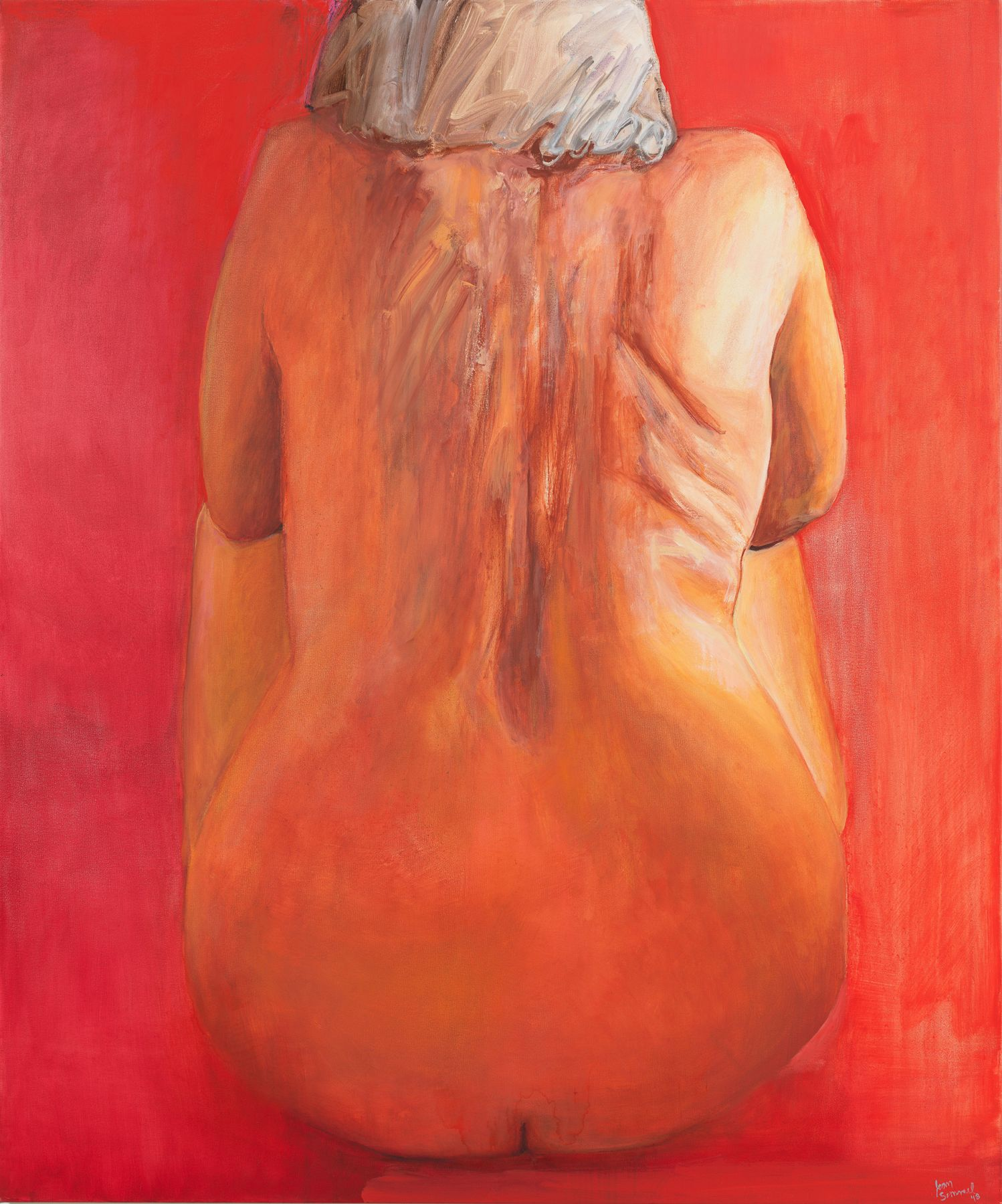 Joan Semmel, Seated in Red, 2018