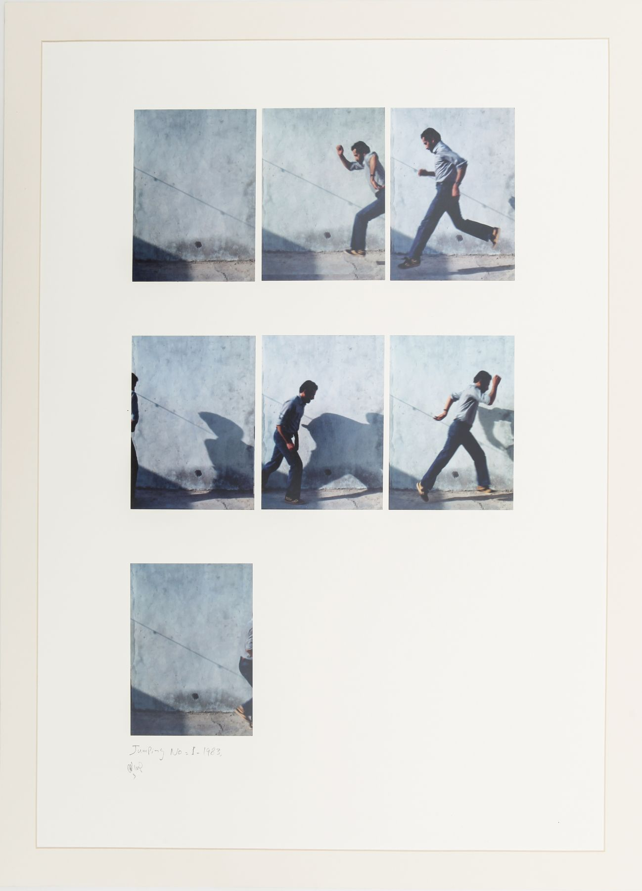 Jumping No. 1, 1983, Photographs mounted on cardboard in 7 parts