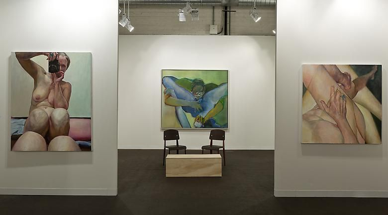 Left: Knees Together (2003); Center: Untitled (1971); Right: Crossed Legs (2011)